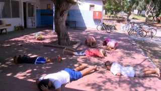 "TZE_027 Israel military footage: Gaza War 2014 Operation Protective Edge - Children practicing ""code red"""