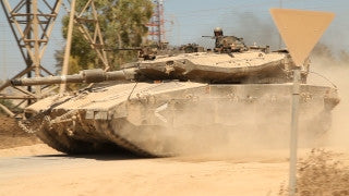 TZE_028 Israel military footage: Gaza War 2014 Operation Protective Edge - IDF tanks moving into Gaza strip