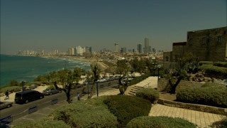 T_062 Tel Aviv stock footage: Jaffa coastline filmed from the sea