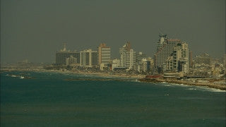 T_009 Tel Aviv stock footage: sunset over Tel Aviv skyline