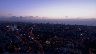 T_012 Tel Aviv stock footage: Tel Aviv highway and streets after sunset