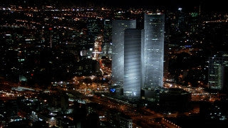 T_014 Tel Aviv stock footage: zoom out from central Tel Aviv at night