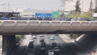 T_031 Tel Aviv stock footage: traffic on and over Ayalon highway