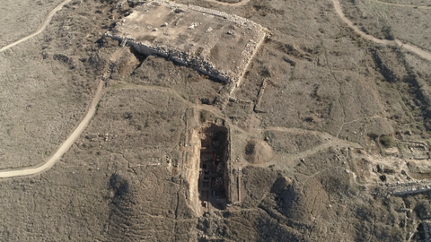 ARC_013: Israel stock footage library: Aerial video clip of archaeological sites in Israel: Tel Tsafit in the northern Negev