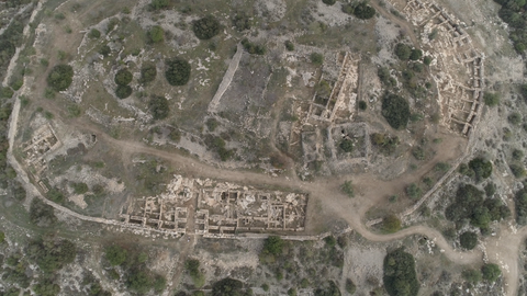 ARC_014: Israel stock footage library: Aerial video clip of archaeological sites in Israel: Tel Tsafit in the northern Negev