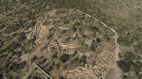 ARC_015: Israel stock footage library: Aerial video clip of archaeological sites in Israel: Tel Tsafit in the northern Negev