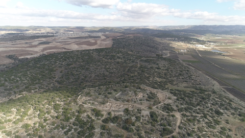 ARC_017: Israel stock footage library: Aerial video clip of archaeological sites in Israel: Tel Tsafit in the northern Negev