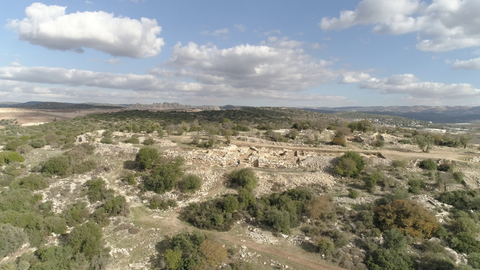 ARC_018: Israel stock footage library: Aerial video clip of archaeological sites in Israel: Tel Tsafit in the northern Negev
