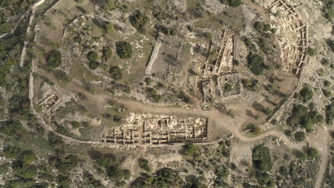 ARC_019: Israel stock footage library: Aerial video clip of archaeological sites in Israel: Tel Tsafit in the northern Negev