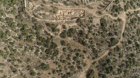 ARC_020: Israel stock footage library: Aerial video clip of archaeological sites in Israel: Tel Tsafit in the northern Negev