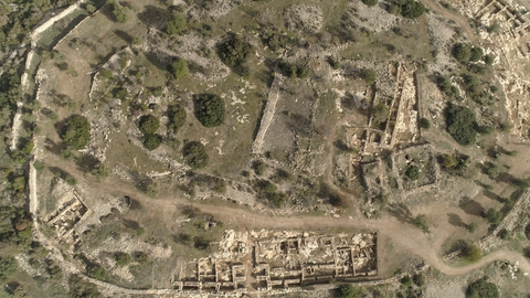 ARC_022: Israel stock footage library: Aerial video clip of archaeological sites in Israel: Tel Tsafit in the northern Negev