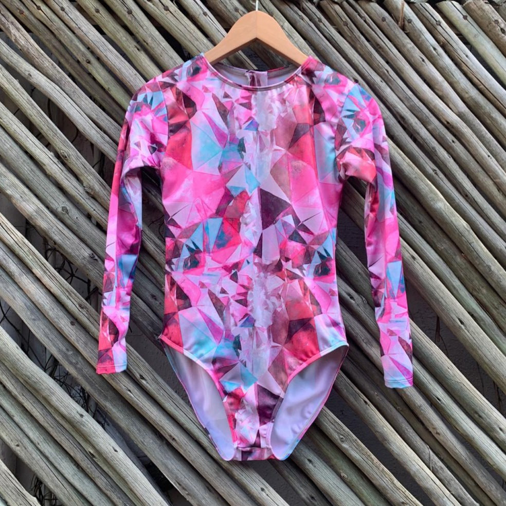 Pink Abstract Youth Swimsuit
