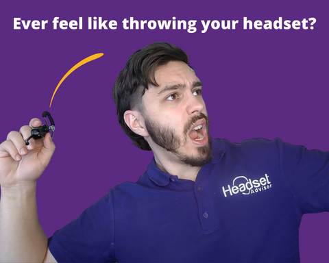 Drew pretending to throw headset out of frustration