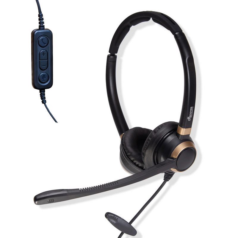 Discover D712U Dual Speaker USB Wired Office Headset For Professionals