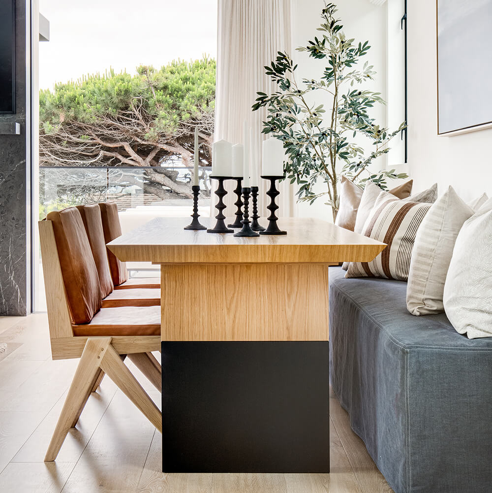 Coastal cool open concept dining room