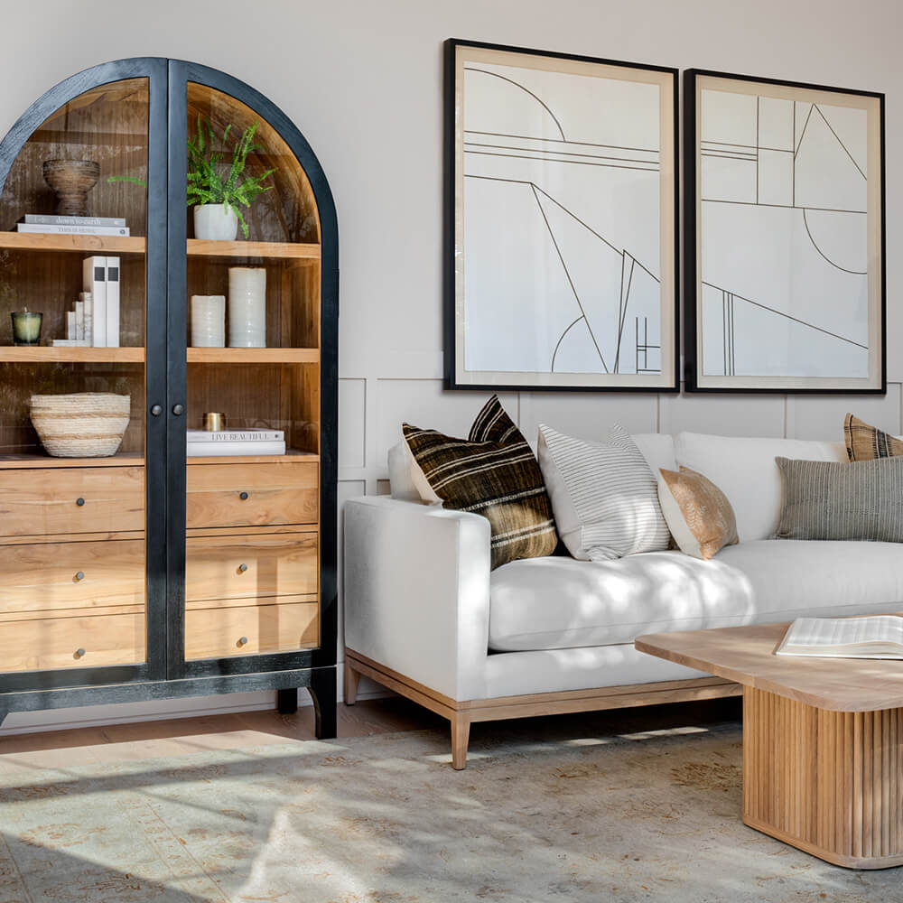Provence hutch designed by Lindye with neutral Atelier sofa and reed wood Keen coffee table