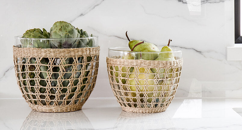 Cynthia glass bowls wrapped in seagrass