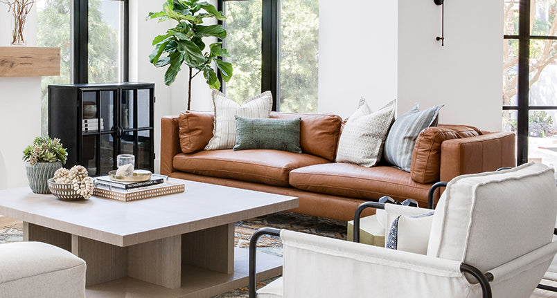 Brown leather cayo sur sofa and elizabeth canvas chair