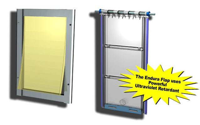 A diagram showing how the Endura Flap Thermo Sash 3e pet door uses ultra-violet retardant in order to resist warping under sunlight.