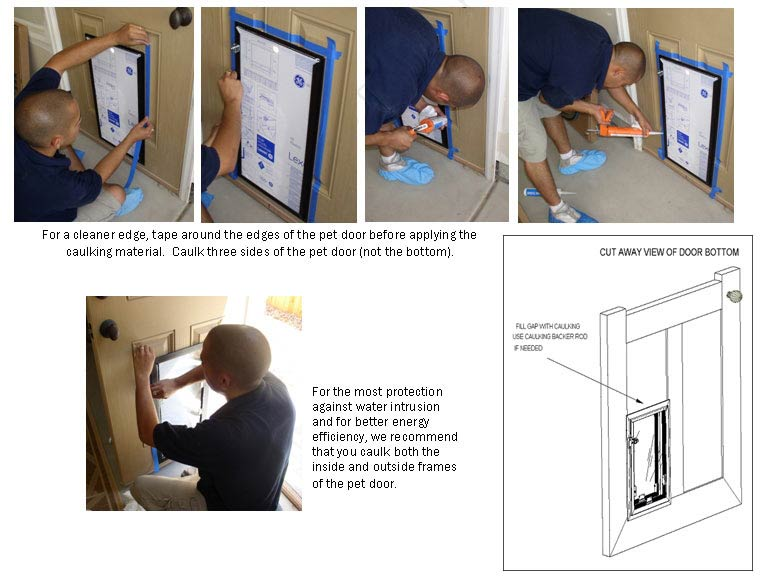 If you are installing the dog door on a paneled door you may need to caulk any gaps
