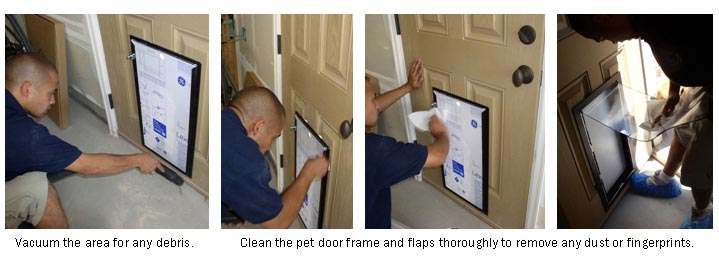 Use simple soap and water to clean your frame and pet door flaps without ammonia