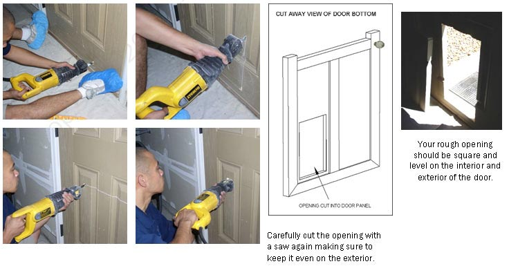 Using a saw, cut the entire opening in your door along the marked lines