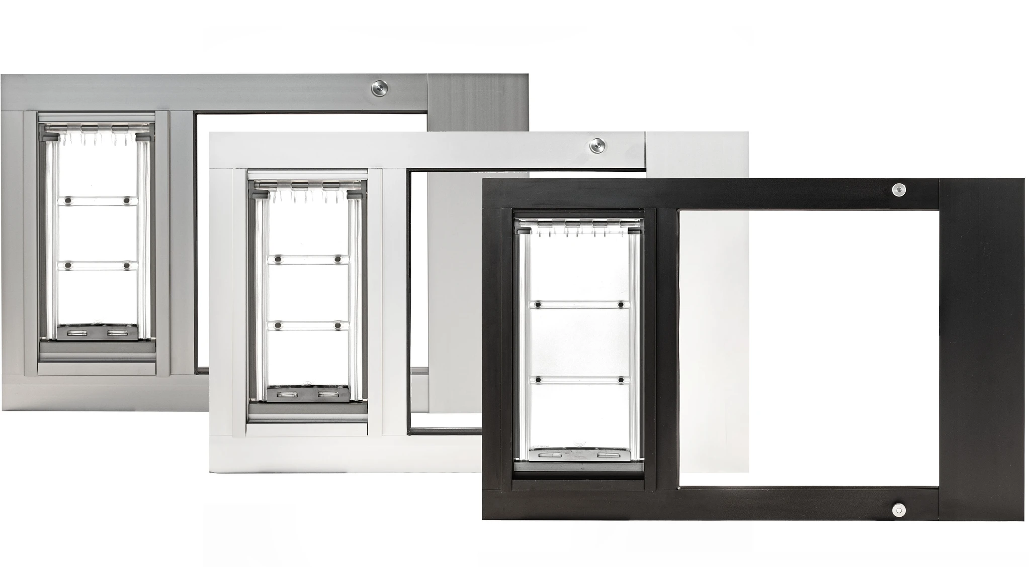The Endura Flap Thermo Sash Pet Door in white, bronze, and brushed aluminum