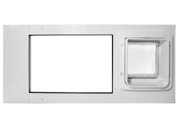 The Endura Flap THermo sash with the Sureflap pet door installed