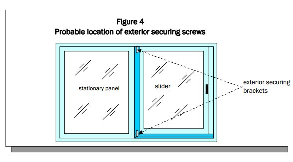 exterior securing brackets are located between slider and stationary panel as seen in this figure