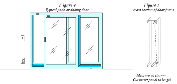 Diagram showing how to measure the inside track of a sliding glass door for a pet door