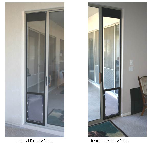 completed Omni panel pet door installation hugs the slider with no air gaps