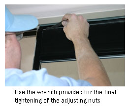 Use the wrench tool provided for the final tightening of nut adjustment