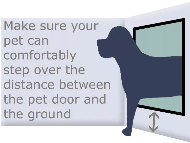 Make sure your pet can comfortable step over the distance between the doggie door and the ground