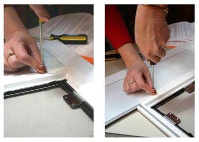 Drill through the sides and bottom of the inner pet door frame and screen frame