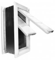 A dog door with a black and white frame and two door flaps
