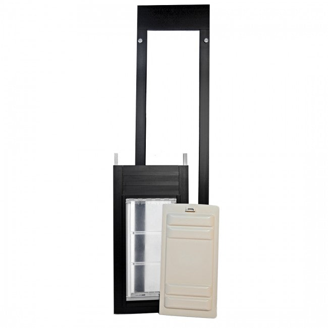 black aluminum thermo panel 3e pet door with locking cover