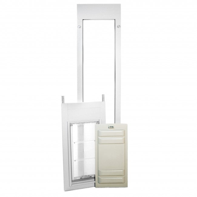 white endura thermo panel 3e pet door with locking cover
