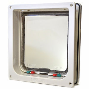 The Cat Mate 221 Large Cat Door with insulating weatherstripping and a lockable flap.