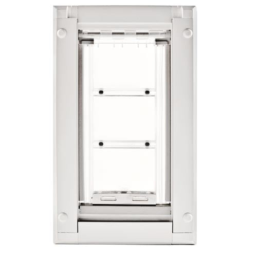 The Endura Flap Cat Door with a white frame and a flexible flap.