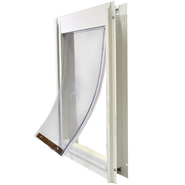 A Ideal Deluxe Pet Door with a white frame and a clear flap.