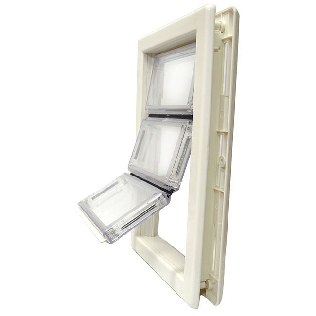 The Ideal Plastic Ultra-Flex pet door with an air seal white frame and a clear plastic flap.