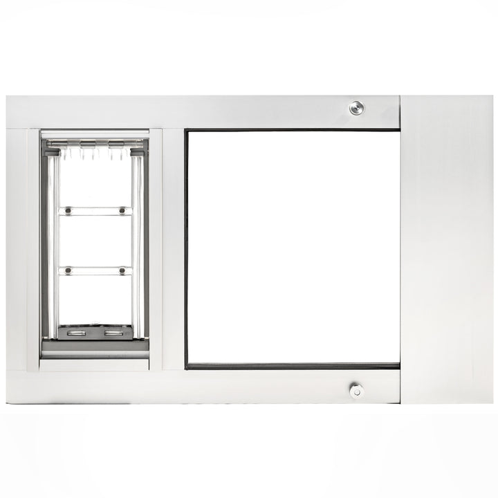 The Thermo Sash 3e Cat Doors for Sash Windows, which has a flexible clear flap and a long horizontal white frame.