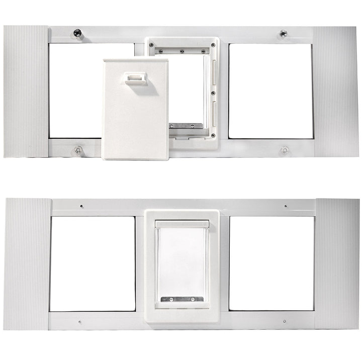 "The Ideal ""Fast Sash"" Pet Doors For Windows, which has a horizontal frame with two windows, a clear flap, and a white locking cover."