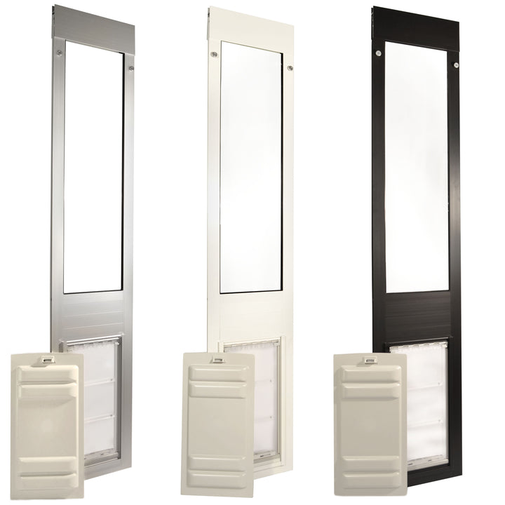 side by side images of the brushed aluminum, bronze, and white framed Endura Flap Thermo Panel 3e with sliding locking covers