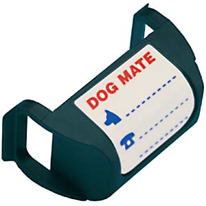 A magnetic collar tag that resembles a blue bag with two straps and the Dog Mate logo for electronic pet doors made by Dog Mate