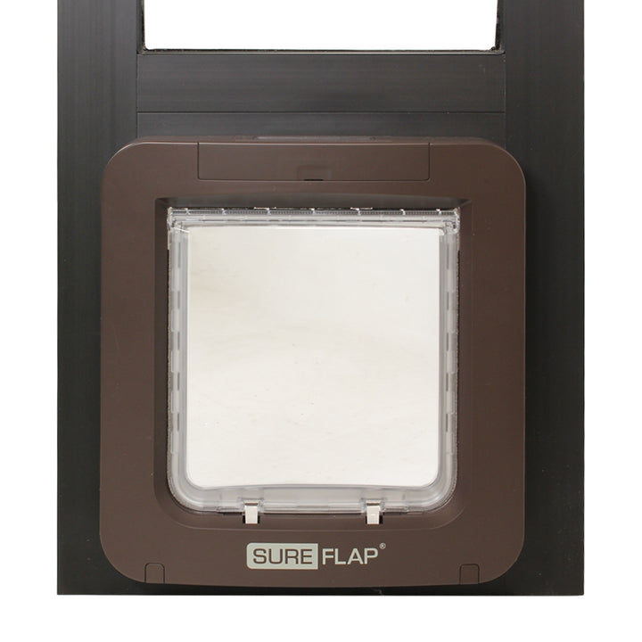 front view closeup brown Thermo Panel 2e with SureFlap Microchip Pet Door