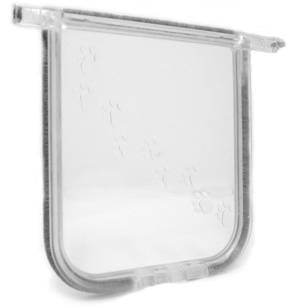 A clear polycarbonate replacement flap lined with weatherstripping for the Cat Mate Elite 305/306 series; the flap has a clear paw print design going diagonally across.