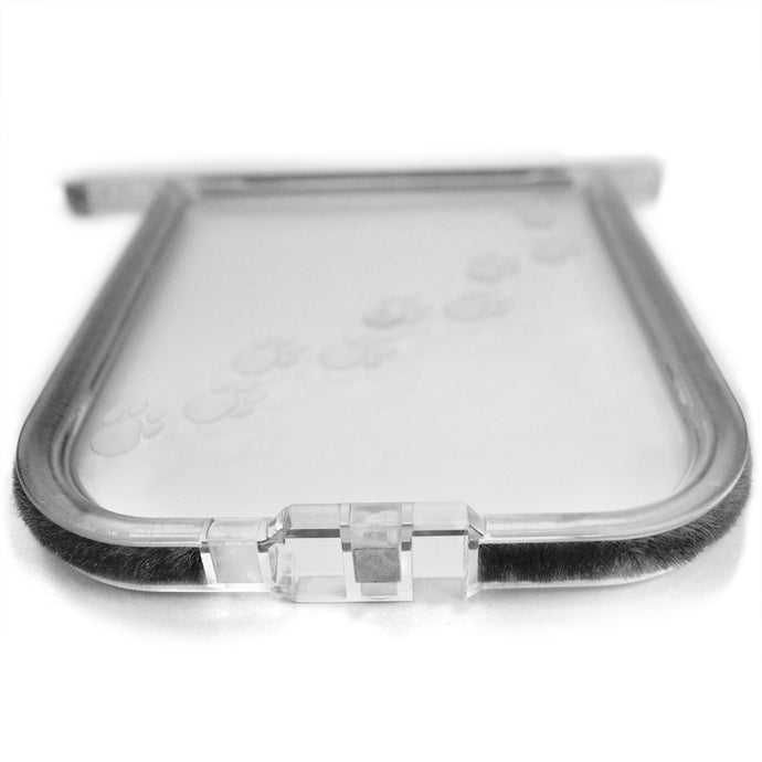 A clear replacement flap that has a paw print design and is lined with black weatherstripping for the Cat Mate Elite 307.