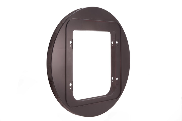 The mounting adapter for microchip and RFID electronic cat doors in dark brown