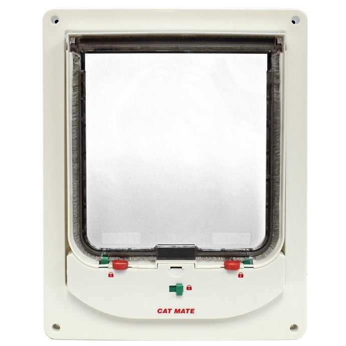 Cat Mate 363 electronic pet door with a white frame and a clear, lockable flap lined with fuzzy black weatherstripping.